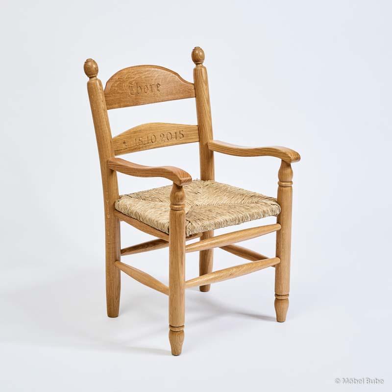 Kinderst hle binsensitz m bel bube - Stuhl mit namen ...